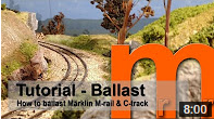 How-to video describing a realistic ballasting of tracks with integrated roadbed, such as Bachmann, Kato, Trix, Roco Geoline or Märklin M-track or C-track.
